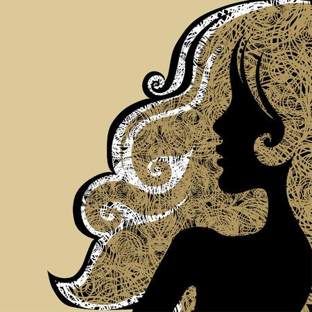 hairstyling: Vector Closeup decorativos mujer grunge de la vendimia con un cabello hermoso