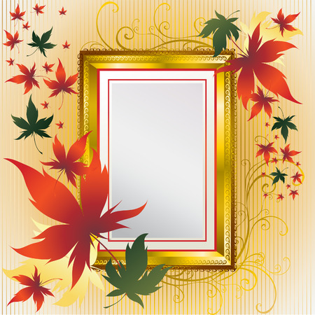 Vector frame with colorful Autumn Leafs. Thanksgiving (From my  Vector