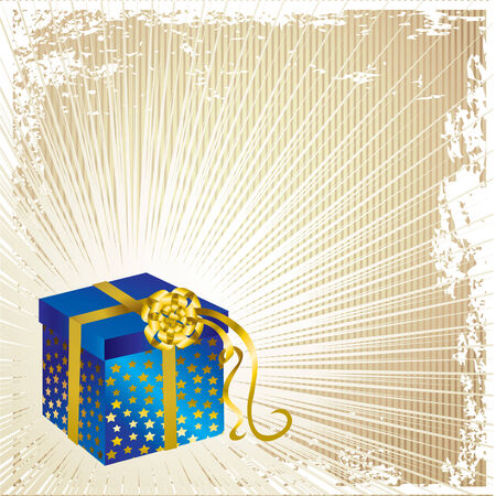 illustration decorative Christmas present with gold bow and stars pattern on shining background Vector