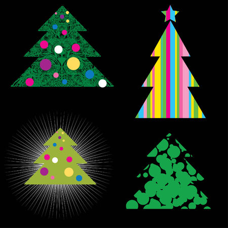 set of decorative shining cute Christmas trees (from my  Vector