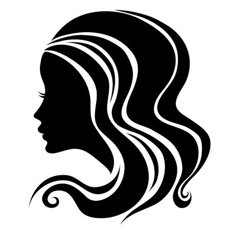 woman face profile: Decorative portrait of woman with long hair (From my big