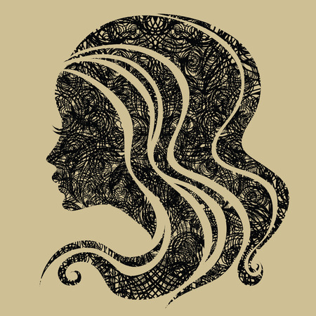 black hair: Decorative grunge portrait of woman with long hair Illustration
