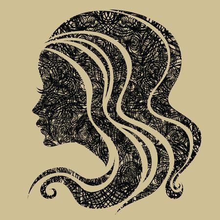 hairstyling: Retrato grunge decorativos de la mujer con el cabello largo