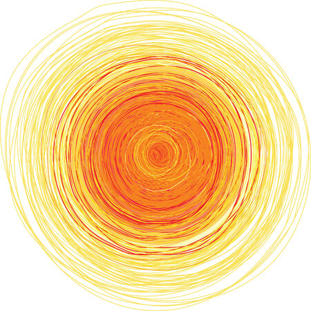 freehand illustration of bright yellow shining sun Illustration