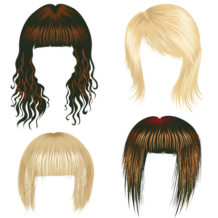 girl short hair: Vector set of trendy hair styling for woman (from my big  Illustration