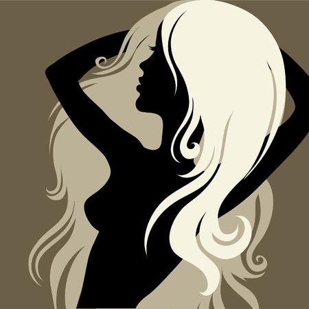 melancholy: Close-up decoratieve vintage vrouw met mooie lange haren (van mijn  Stock Illustratie