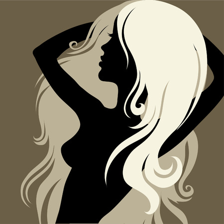 m�lancolie: Gros plan femme vintage d�coratif avec beaux cheveux longs (de mon  Illustration