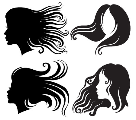 foukání: Big set of black silhouettes of woman with long blowing hair (from my big  Ilustrace