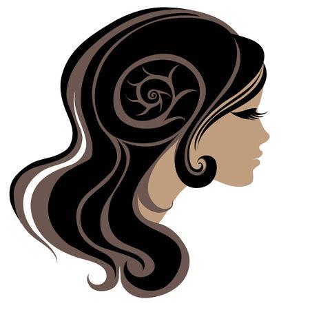 hairstyling: Decorativo retrato de mujer con pelo largo (de mi gran