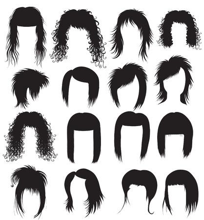 long hair woman: Vector Big conjunto de estilo para la mujer (de mi gran de pelo negro