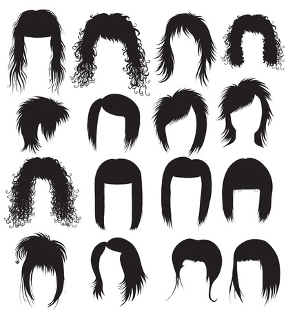 girl short hair: Vector Big set of black hair styling for woman (from my big