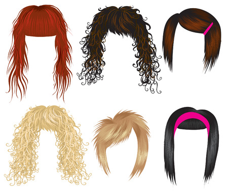 blonde curly hair: Vector set of trendy hair styling for woman (from my big  Illustration