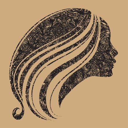 melancholy: Vector grunge portret van vrouw met lang haar (van mijn grote