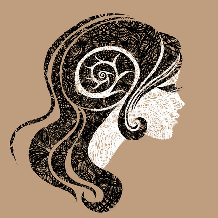 amative: Vector grunge portrait of woman with long hair (From my big