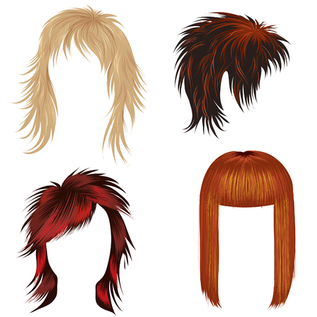 ginger hair: Vector set of trendy hair styling for woman (from my big  Illustration