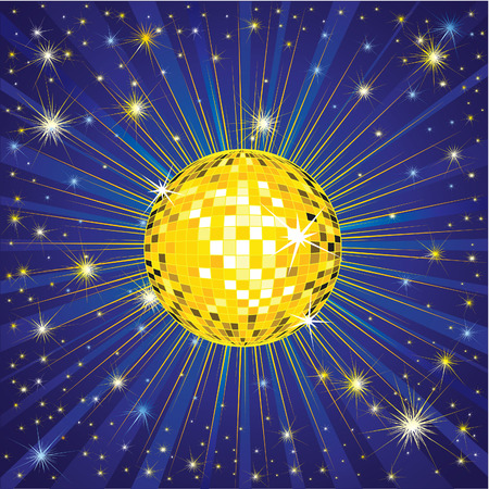 Background with yellow shining disco-ball and pattern Illustration