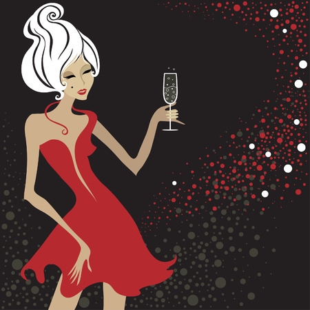 year profile: Closeup decorative vintage blond woman with glass of champagne. New Year.  Illustration
