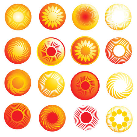 twirled: set di icone astratta sole lucida