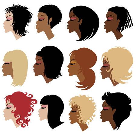 kurz: Satz von trendy Haarstyling f�r Frau