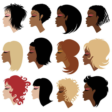 set of trendy hair styling for woman Stock Vector - 5958700