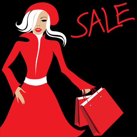Stylish woman in red with purchases. Shopping. Sale Vector