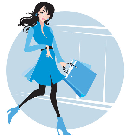 amative: Stylish woman in blue with purchases. Shopping. Sale