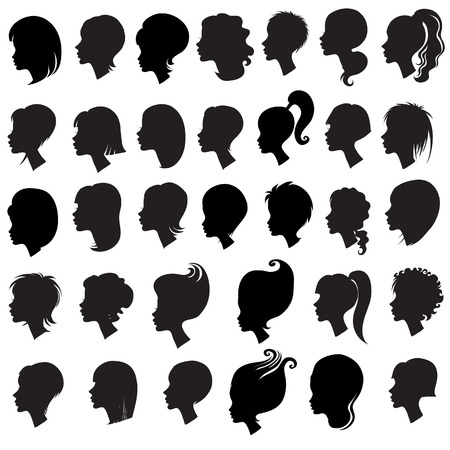 girl short hair: Big set of black hair styling for woman