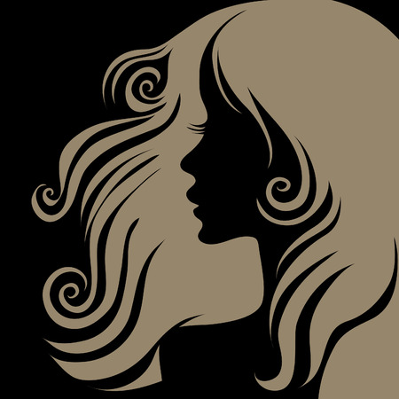 amative: Vector closeup Decorative grunge portrait of woman with long hair (From my big