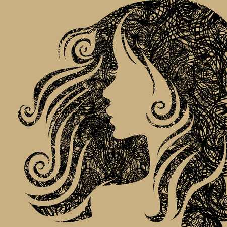 thinking icon: closeup grunge portrait of woman with long hair Illustration
