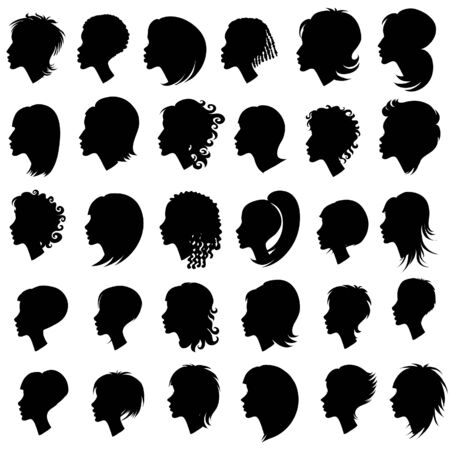 woman short hair: Big set of black hair styling for woman