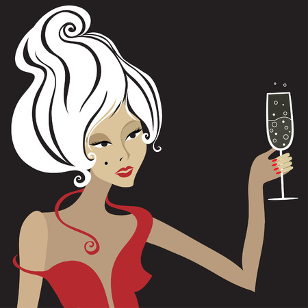 long drink: Closeup decorative vintage blond woman with glass of champagne. New Year.