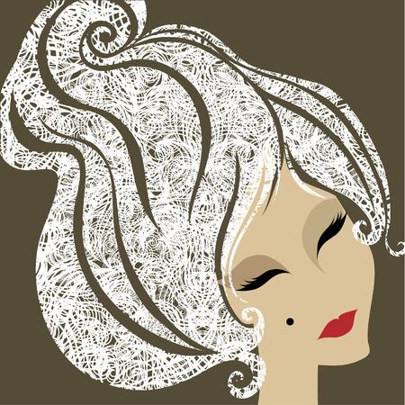 melancholy: close-up grunge portret van blonde vrouw met make-up  Stock Illustratie