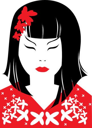 donna giapponese: Vettore closeup ritratto di donna giapponese con i capelli lunghi (dal mio grande