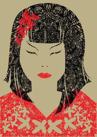 hairstyling: Retrato de grunge de portarretrato de vector de mujer japonesa con pelo largo (de mi gran