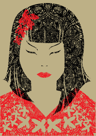 donna giapponese: Vettore closeup grunge ritratto di donna giapponese con i capelli lunghi (dal mio grande