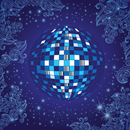 mirrorball: Background with blue shining disco-ball and pattern