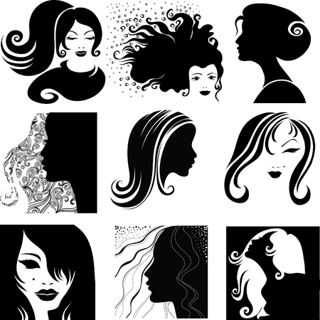 Vector set of closeup silhouette portrait of beautiful woman with long hair (From my big Stock Vector - 6090701