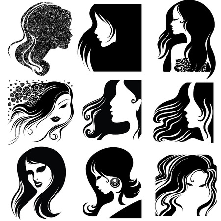 Vecteur défini de gros plan silhouette portrait de belle femme aux cheveux long (de mon grand