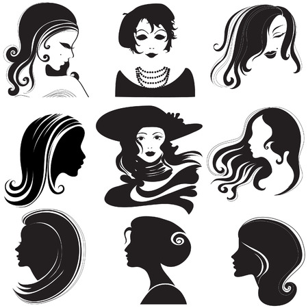 Vector set of closeup silhouette portrait of beautiful woman with long hair (From my big  Vector