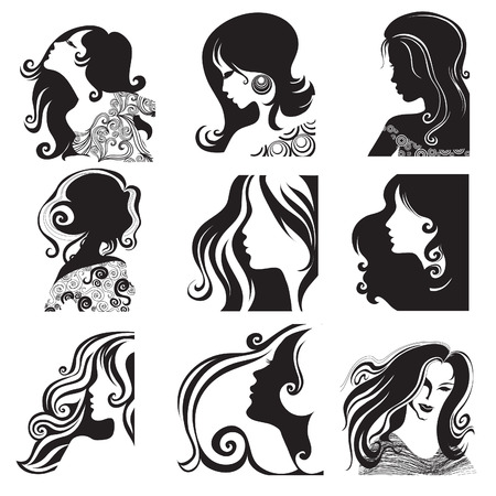Vector set of closeup silhouette portrait of beautiful woman with long hair