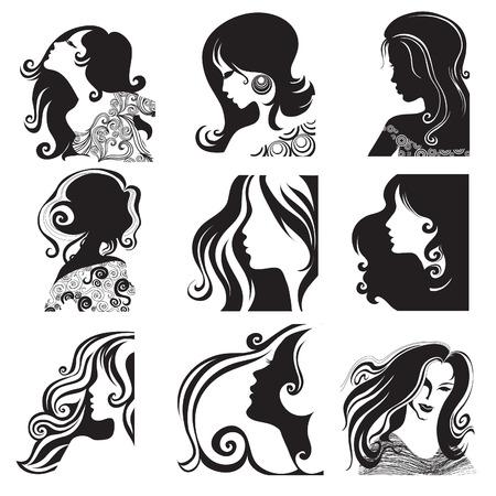 melancholy:  Vector set van close-up silhouet portret van mooie vrouw met lang haar  Stock Illustratie