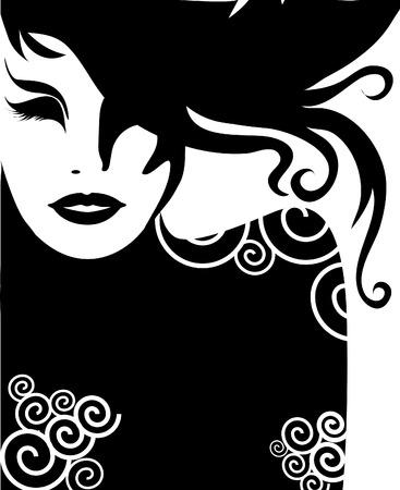 melancholy: Vector close-up decoratieve portret van vrouw met lang haar (van mijn grote  Stock Illustratie