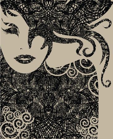 melancholy: Vector close-up decoratieve grunge portret van een vrouw met lang haar (van mijn grote