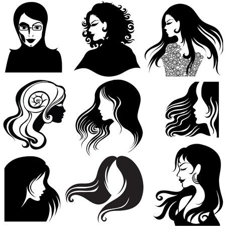 hairstyling: Vector conjunto de retrato de silueta de portarretrato de hermosa mujer con pelo largo (de mi gran  Vectores