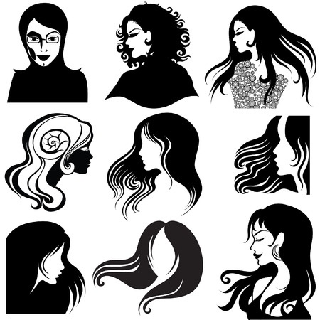 hairdos: Vector set di Portrait closeup silhouette di donna bellissima con i capelli lunghi (From My Big