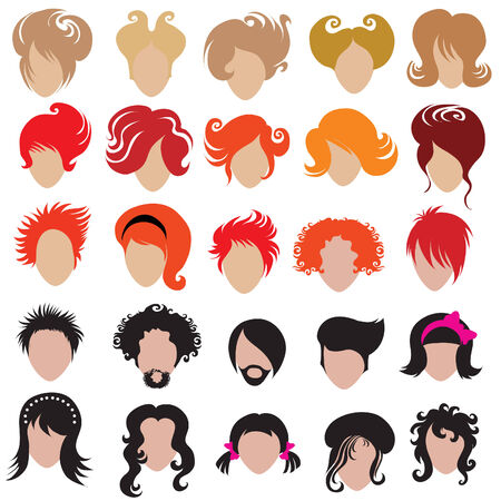 mulatto: Vector set of trendy hair styling icons (from my big  Illustration