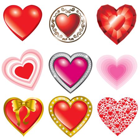 saint valentines: Set di vettore di cuori illustrazione-San Valentino