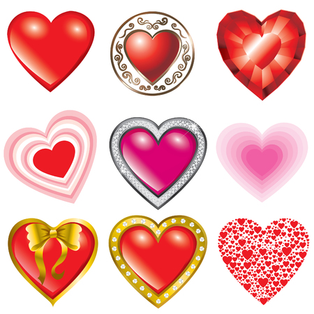 Vector set of hearts illustration- Saint Valentines Day Vector