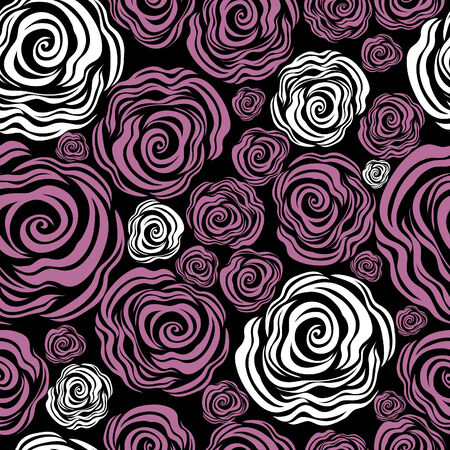 Seamless pink rose pattern (From my big  Illustration