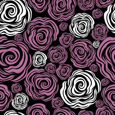 rose pattern: Seamless pink rose pattern (From my big  Illustration